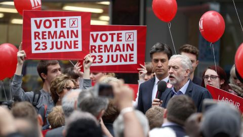 Labour Leader Jeremy Corbyn and former leader Ed Miliband address supporters in Doncaster in May.