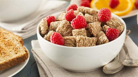 Shredded wheat is among the healthiest cereals. The small square pieces are a good source of protein and fiber.