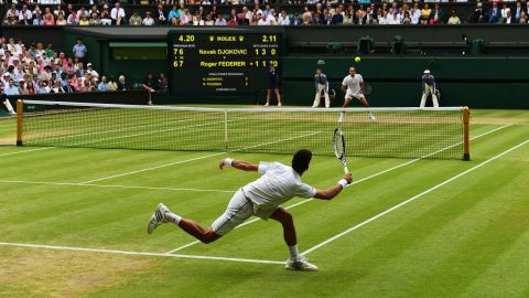 LONDON, ENGLAND - JULY 12:  Novak Djokovic of Serbia plays a forehand in the Final Of The Gentlemen's Singles against Roger Federer of Switzerland on day thirteen of the Wimbledon Lawn Tennis Championships at the All England Lawn Tennis and Croquet Club on July 12, 2015 in London, England.  (Photo by Shaun Botterill/Getty Images)