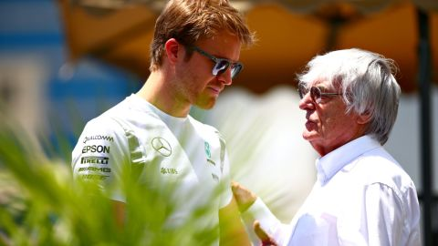 """World championship leader Nico Rosberg in conversation with F1 supremo Bernie Ecclestone. The German had his lead slashed at the top of the standings to nine points after his Mercedes teammate Lewis Hamilton <a href=""""http://edition.cnn.com/2016/06/12/motorsport/motorsport-canada-gp-hamilton-vettel/index.html"""">took the checkered flag in Canada</a> last weekend."""