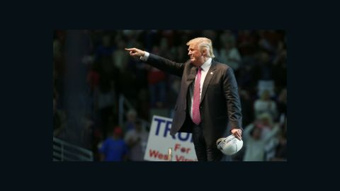 Republican Presidential candidate Donald Trump points to supporters following his speech at the Charleston Civic Center on May 5, 2016 in Charleston, West Virginia.