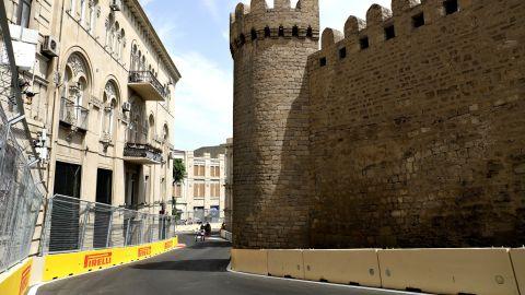 Baku's ancient Qosha gate as seen from the new street circuit