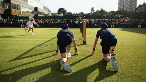 LONDON, ENGLAND - JUNE 22:  A view of ball boys during the second round match between Rainer Schuettler of Germany and Feliciano Lopez of Spain on Day Three of the Wimbledon Lawn Tennis Championships at the All England Lawn Tennis and Croquet Club on June 22, 2011 in London, England.  (Photo by Oli Scarff/Getty Images)