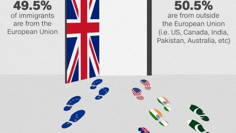 Slightly more immigrants coming to Britain are from outside the EU, net figures show.