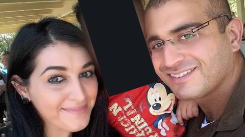 Orlando nightclub shooter Omar Mir Seddique Mateen poses with his wife, Noor Salman, in a family photo posted online.