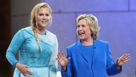 """Amy Schumer and Hillary Clinton attend """"The Ellen DeGeneres Show"""" at New York's Rockefeller Center in September 2015. Schumer used a picture of the two of them from the show to declare <a href=""""https://twitter.com/amyschumer/status/715221814373445632?ref_src=twsrc%5Etfw"""" target=""""_blank"""" target=""""_blank"""">on Twitter in March: """"#I'mWithHer.""""</a>"""