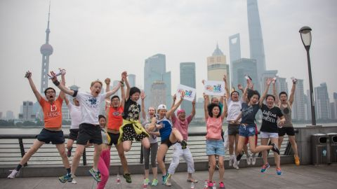 Participants pose for a photo at a Shanghai pride event.