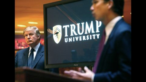 """Trump attends a news conference in 2005 that announced the establishment of Trump University. From 2005 until it closed in 2010, Trump University had about 10,000 people sign up for a program that promised success in real estate. <a href=""""http://money.cnn.com/2016/03/08/news/trump-university-controversy-donald-trump/"""" target=""""_blank"""">Three separate lawsuits</a> -- two class-action suits filed in California and one filed by New York's attorney general -- argued that the program was mired in fraud and deception. Trump's camp rejected the suits' claims as """"baseless."""" And Trump has charged that the New York case against him is politically motivated."""