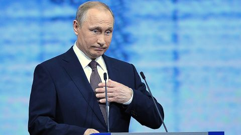 Russian President Vladimir Putin gives a speech at a session of the St. Petersburg International Economic Forum (SPIEF 2016) in Saint Petersburg on June 17, 2016. / AFP / OLGA MALTSEVA        (Photo credit should read OLGA MALTSEVA/AFP/Getty Images)