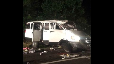 The Virginia State Police provided this image from the scene of a two car accident where six people were killed ,in Caroline County, Virginia, on Saturday, June 18.