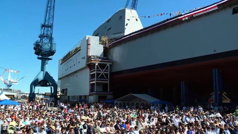 NS Slug: ME: NAVY CHRISTENS NEW ZUMWALT DESTROYER  Synopsis: New U.S. destroyer christened after late Navy SEAL  Keywords: MAINE NAVY CHRISTENS NEW ZUMWALT DESTROYER