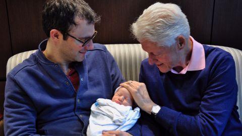 Democratic presidential candidate Hillary Clinton tweets photo of her new grandson, Aidan Clinton Mezvinsky.