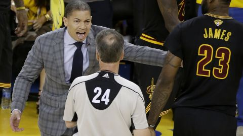 Cleveland head coach Tyronn Lue talks to referee Mike Callahan in the second half. Lue took over the job midseason after David Blatt was fired.