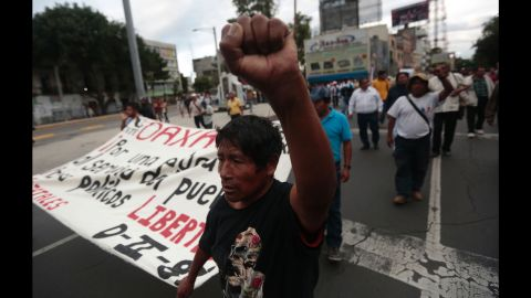Teachers are protesting an overhaul of how they are evaluated. Demonstrators are also out in Mexico City on June 19.
