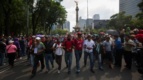 Protesters march in Mexico City on Friday, June 17.