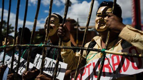 Teachers protest in Oaxaca on Tuesday, June 14.
