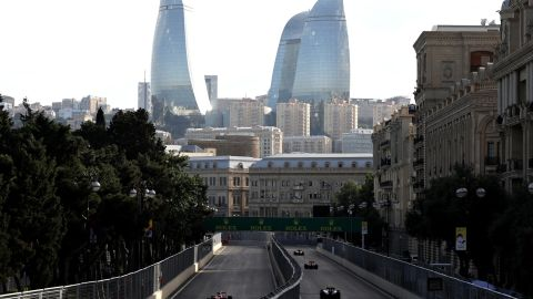 """The circuit ran through the streets of the Azerbaijan capital with spectacular views of the iconic """"Flame Towers."""""""