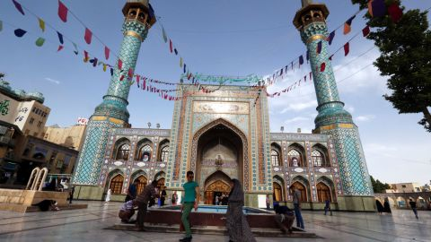 Iranians gather outside Emamzadeh Saleh mosque in Tajrish square in northern Tehran on June 7.