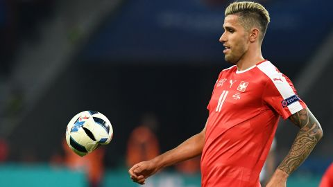 PUMA wasn't the only sports goods maker that had problems druing Sunday's game. Swiss midfielder Valon Behrami's studs deflated an Adidas ball as he challenged French forward Antoine Griezmann.
