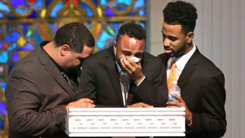From left, Michael Marquez, Isaiah Henderson and Robert Presley grieve during the funeral of their mother and Pulse shooting victim Brenda Lee Marquez-McCool in Orlando on Monday, June 20.