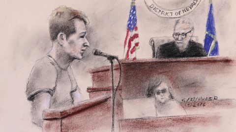 A court sketch of Michael Sandford.
