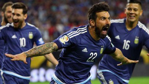 Lavezzi celebrates the early goal.