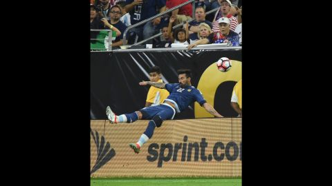 Lavezzi was injured after he fell over a billboard trying to control a ball in the air. He had to be substituted.
