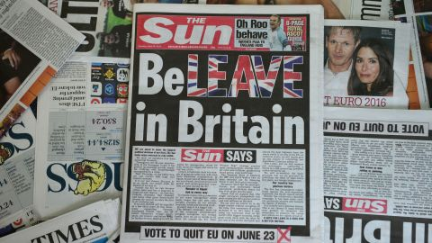 Britain's The Sun urges readers to vote to leave the European Union in an editorial splashed across its front page.