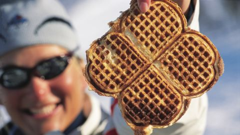 Norwegian's soft heart-shaped waffles are often eaten with brunost, a goat's cheese made from caramelized whey, with a sharp, sweet-savory dulce de leche taste.