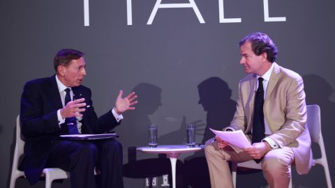 David Petraeus gave his views on national security issues in a conversation with Peter Bergen June 20 in New York City.