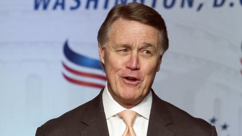 """At a meeting of conservative Christians in 2016, Georgia Republican Sen. David Perdue jokingly told the audience that they should pray for Obama and suggested a psalm that said """"may his days be few."""" The audience laughed and applauded."""