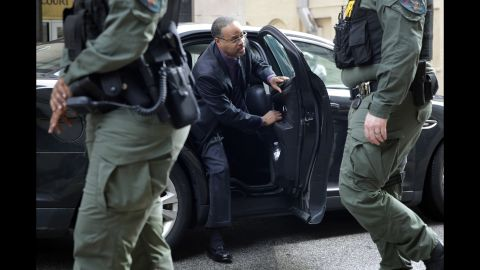 Officer Caesar Goodson, one of six Baltimore city police officers charged in connection to the death of Freddie Gray, arrives at a courthouse before receiving a verdict in his trial in Baltimore, Thursday, June 23, 2016.