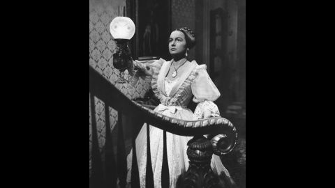 """Perhaps de Havilland's finest hour on the screen came with her second Oscar-winning role, Catherine Sloper in """"The Heiress"""" (1949), from a play based on Henry James' novel """"Washington Square."""" Initially awkward and shy, her character turned the tables on her cold, unloving father (played by Ralph Richardson) and a fortune-hunting suitor (Montgomery Clift)."""