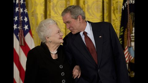 """U.S. President George W. Bush presents de Havilland with the National Medal of Arts at the White House in November 2008. <a href=""""https://www.arts.gov/honors/medals/olivia-de-havilland"""" target=""""_blank"""" target=""""_blank"""">The star was recognized</a> """"for her lifetime achievements and contributions to American culture as an actress."""""""