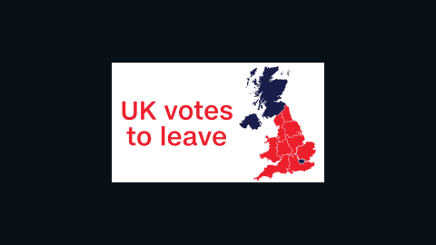 A map of the United Kingdom, which shows the areas that voted to remain in blue, and those which voted to leave in red.