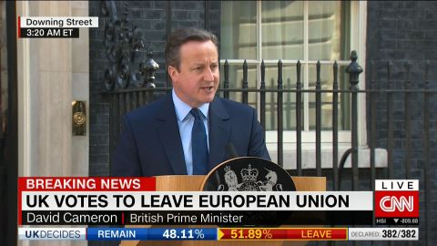 """David Cameron speaks outside 10 Downing Street after Britain voted for a """"Brexit"""" from the European Union."""
