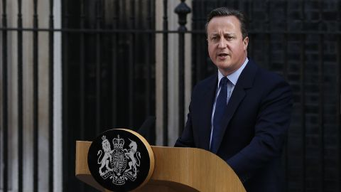 British Prime Minister David Cameron speaks to the press in front of 10 Downing street in central London on June 24, 2016. Britain has voted to break out of the European Union, striking a thunderous blow against the bloc and spreading panic through world markets Friday as sterling collapsed to a 31-year low. / AFP / ADRIAN DENNIS        (Photo credit should read ADRIAN DENNIS/AFP/Getty Images)