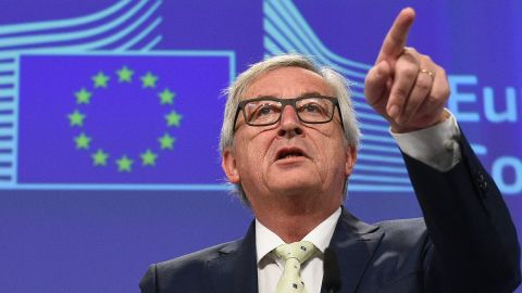 European Commission chief Jean-Claude Juncker gestures during a joint press conference following his meeting with the President of the European Parliament, the President of the European Council and the Dutch Prime Minister at the EU Headquarters in Brussels on June 24, 2016.  European Commission chief Jean-Claude Juncker on June 24, 2016 denied that Britain's shock vote to leave the EU was the start of a process of disintegration for the bloc. / AFP / JOHN THYS        (Photo credit should read JOHN THYS/AFP/Getty Images)