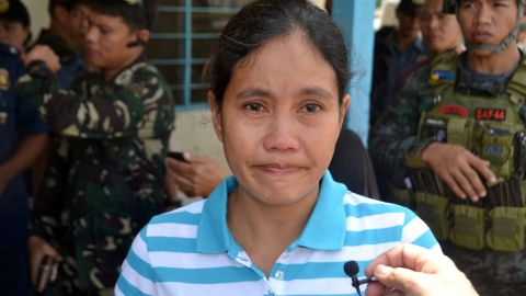 Filipina Marites Flor was released by Abu Sayyaf Islamic militants in Jolo, the southern island of Mindanao.