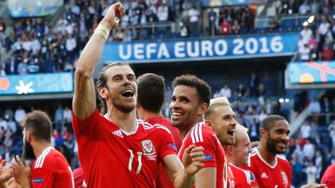 Wales forward Gareth Bale celebrates their 1-0 victory over Northern Ireland on Saturday, June 25, at the Parc des Princes stadium in Paris.