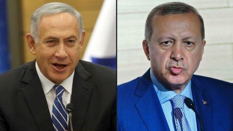 Israeli Prime Minister Benjamin Netanyahu and Turkish President Recep Tayyip Erdogan.