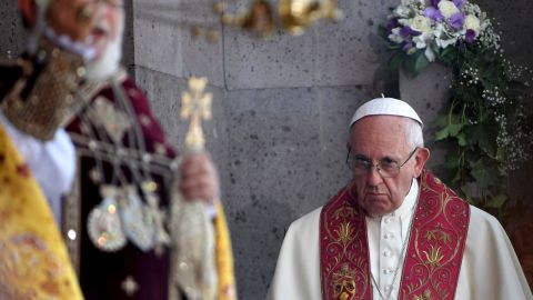 Pope Francis looks on as Catholicos of All Armenians Karekin II celebrates the Divine Liturgy at the Apostolic Cathedral in Etchmiadzin, outside Yerevan, Armenia, on June 26, 2016.