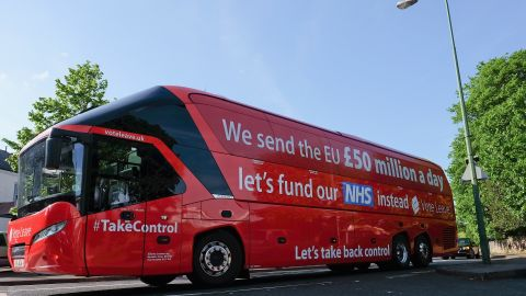 The Brexit battle bus claiming Britain sends £50 million a day to the EU that could be spent on healthcare.
