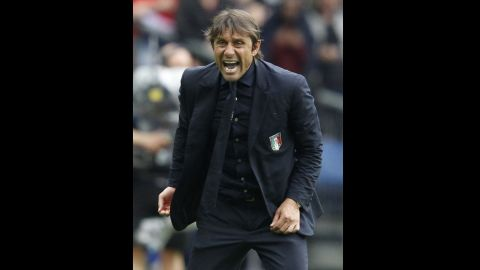 Italian manager Antonio Conte shouts during the match.