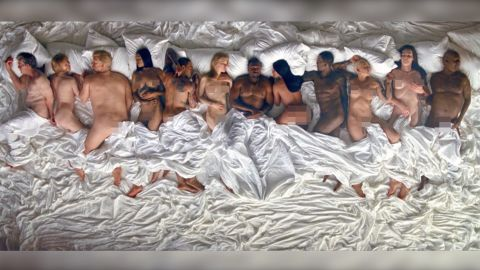 """A still frame from Kanye West's music video for the song """"Famous"""""""