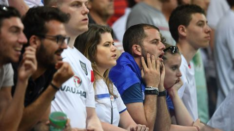 England fans watch the match in Nice.