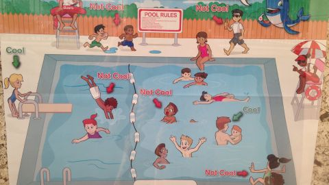 The Red Cross apologized for this pool safety poster, deemed racist by some.