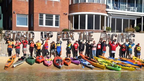 Climate change remains a divisive issue in Australia -- during the campaign, a group of kayakers protested the government's lack of action outside Turnbull's Point Piper mansion in Sydney.