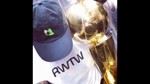 """LeBron James takes a selfie with the Larry O'Brien Trophy after the Cleveland Cavaliers <a href=""""http://www.cnn.com/2016/06/19/sport/gallery/nba-finals-game-7/index.html"""" target=""""_blank"""">won the NBA title</a> on Sunday, June 19. In an <a href=""""https://www.instagram.com/p/BG5Byk7iTGF/"""" target=""""_blank"""" target=""""_blank"""">Instagram post</a>, he hit back at those who doubted him along the way."""