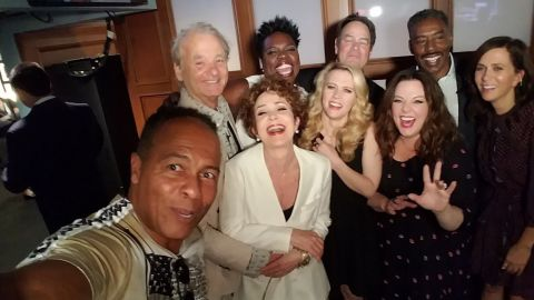"""Ray Parker Jr., singer of the iconic """"Ghostbusters"""" theme song, takes a selfie with cast members from both the 1984 movie and the 2016 reboot. """"How can this picture NOT make you happy?"""" <a href=""""https://twitter.com/paulfeig/status/740520931550887937"""" target=""""_blank"""" target=""""_blank"""">tweeted the reboot's director, Paul Feig,</a> on Wednesday, June 8. Behind Parker, from left, are Bill Murray, Annie Potts, Leslie Jones, Kate McKinnon, Dan Akyroyd, Melissa McCarthy, Ernie Hudson and Kristen Wiig."""